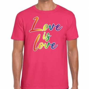 Goedkope love is love gaypride t shirt roze heren