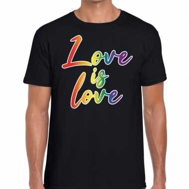 Goedkope love is love gaypride t shirt zwart heren