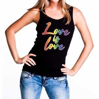 Goedkope love is love gaypride tanktop/mouwloos shirt zwart dames