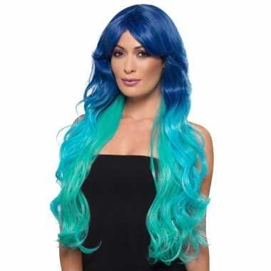Goedkope luxe blauw/turquoise lange pruik dames
