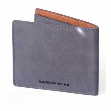 Goedkope luxe grijze leren creditcard/kaarthouder heren