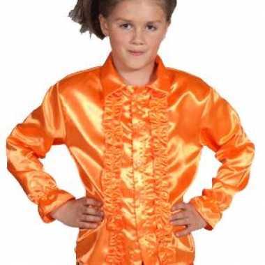 Goedkope luxe oranje rouches blouse kinderen