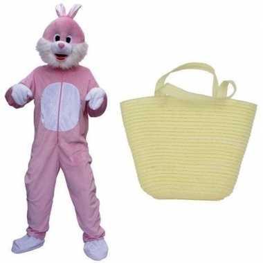 Goedkope luxe paashaas kostuum roze paasmandje volwassenen
