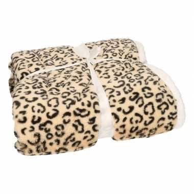 Luxe vachtdeken beige cheetah goedkope