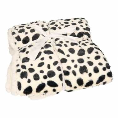 Luxe vachtdeken dalmatier zwarte stip goedkope