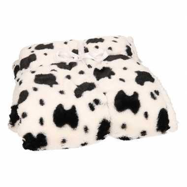 Luxe vachtdeken dalmatier zwarte vlekken goedkope