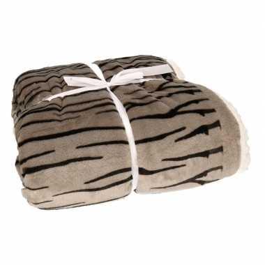 Luxe vachtdeken grijze zebra goedkope