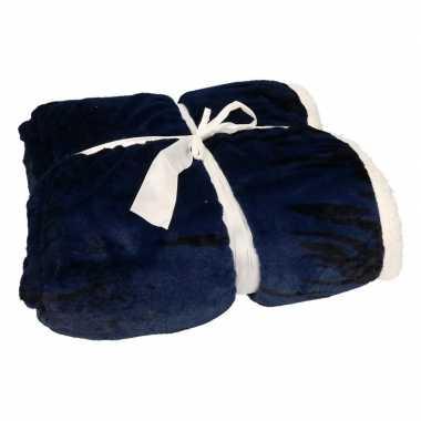Luxe vachtdeken zwart/blauw art goedkope