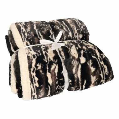Luxe vachtdeken zwart/witte art goedkope