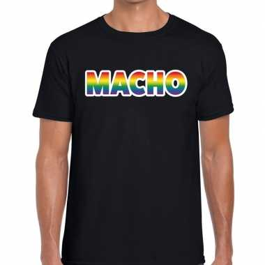 Goedkope macho regenboog gaypride shirt zwart heren