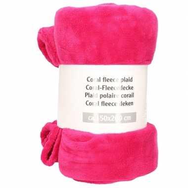 Goedkope magenta roze fleece deken