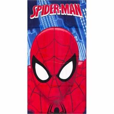 Goedkope marvel spiderman gezicht badlaken/strandlaken blauw