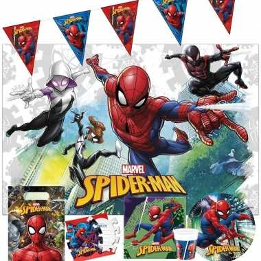 Goedkope marvel spiderman kinderfeest tafeldecoratie pakket personen