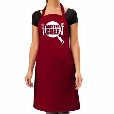 Goedkope master chef barbeque schort / keukenschort bordeaux rood dam