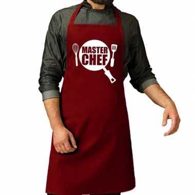 Goedkope master chef barbeque schort / keukenschort bordeaux rood her