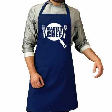 Goedkope master chef barbeque schort / keukenschort kobalt blauw here
