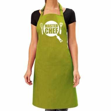 Goedkope master chef barbeque schort / keukenschort lime groen dames