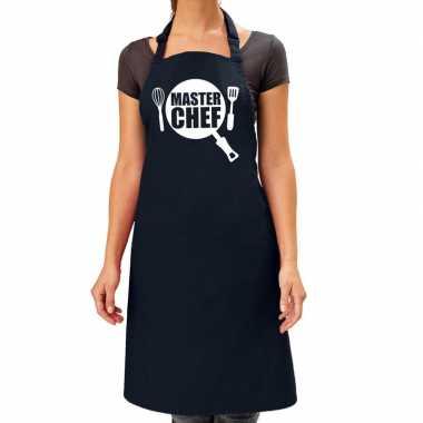 Goedkope master chef barbeque schort / keukenschort navy blauw dames