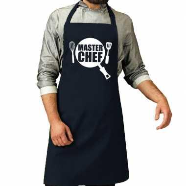 Goedkope master chef barbeque schort / keukenschort navy heren