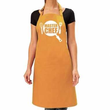 Goedkope master chef barbeque schort / keukenschort oker geel dames