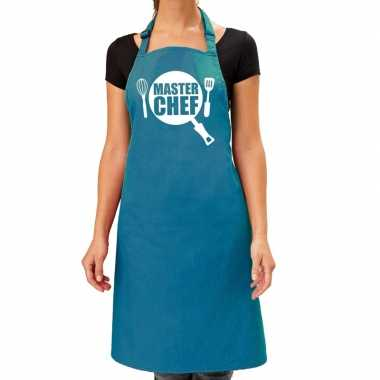 Goedkope master chef barbeque schort / keukenschort turquoise blauw d