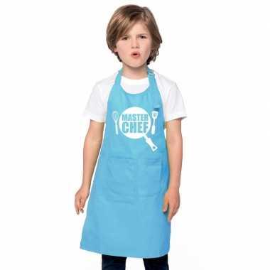 Goedkope master chef keukenschort blauw kinderen