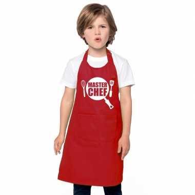 Goedkope master chef keukenschort rood kinderen