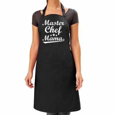 Goedkope master chef mama cadeau bbq/keuken schort zwart dames