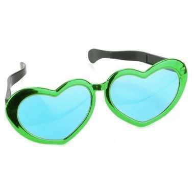 Goedkope mega groene hartjes verkleed bril volwassenen