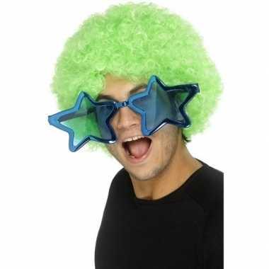 Goedkope mega turquoise sterren verkleed bril volwassenen