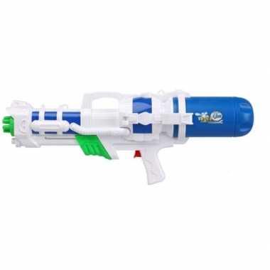 Goedkope mega waterpistool pomp wit/blauw