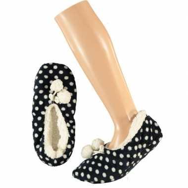 Goedkope meisjes ballerina pantoffels/sloffen stippen navy maat