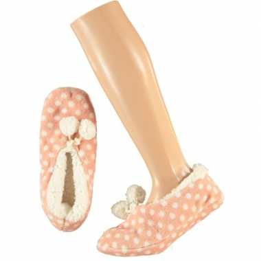 Goedkope meisjes ballerina pantoffels/sloffen stippen roze maat