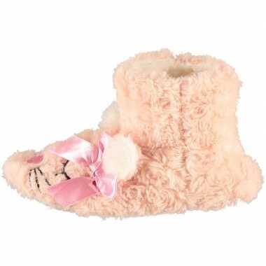 Goedkope meisjes hoge dieren pantoffels/sloffen roze muis