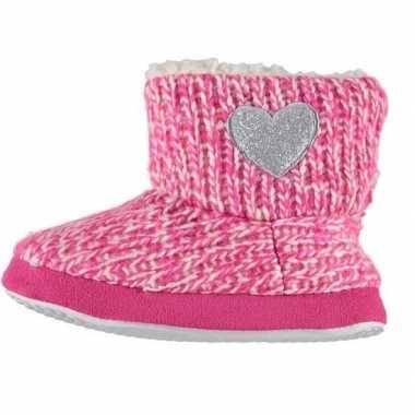 Goedkope meisjes hoge sloffen/pantoffels hart roze maat