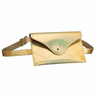 Goedkope metallic goud mini heuptasje/buideltasje aan riem dames