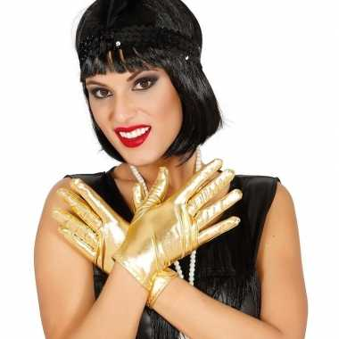 Goedkope metallic gouden verkleed handschoenen kort