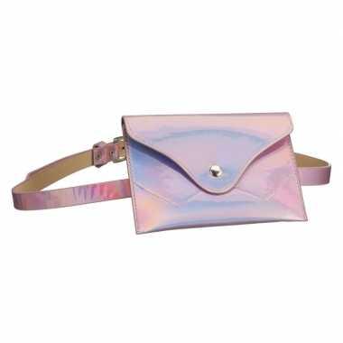 Goedkope metallic roze mini heuptasje/buideltasje aan riem dames