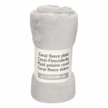 Goedkope middengrijze fleece deken