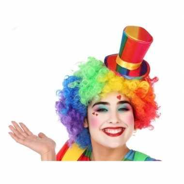 Goedkope mini hoge clownshoed verkleed accessoire volwassenen