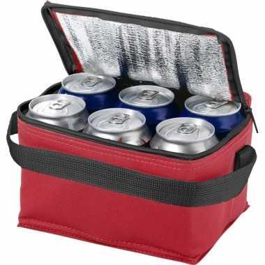 Goedkope mini koeltas rood/zwart /sixpack blikjes , liter