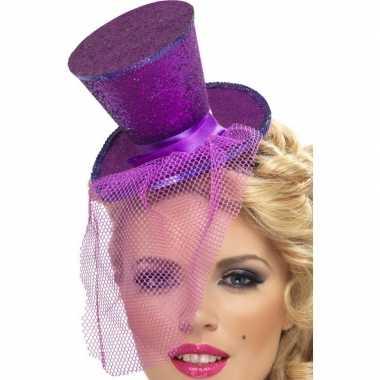 Goedkope mini paarse hoge hoed diadeem