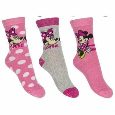 Goedkope minnie mouse meisjes sokken pak lichtroze