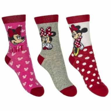 Goedkope minnie mouse meisjes sokken pak rood