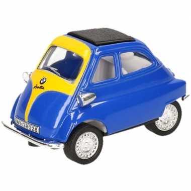 Goedkope modelauto bmw isetta blauw/geel ,