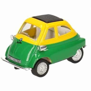 Goedkope modelauto bmw isetta groen/geel ,