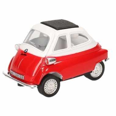 Goedkope modelauto bmw isetta rood/wit ,