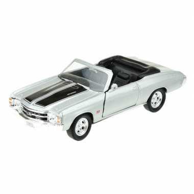 Goedkope modelauto chevrolet oldtimer chevelle zilver grijs :