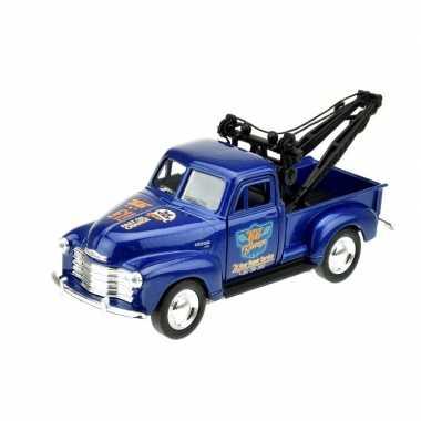 Goedkope modelauto chevrolet oldtimer stepside tow truck blauw :