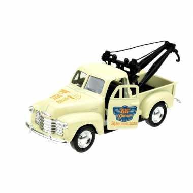 Goedkope modelauto chevrolet oldtimer stepside tow truck creme :